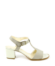 Taupe leather peeptoe T-bar sandals