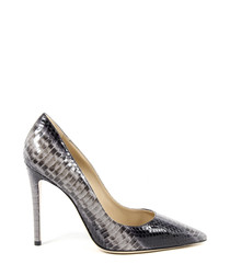 Grey leather snake-effect stilettos