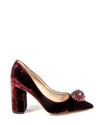 Bordeaux leather jewel block heel