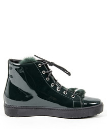 Green leather & faux fur sneakers