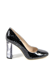 Black & silver patent leather heels
