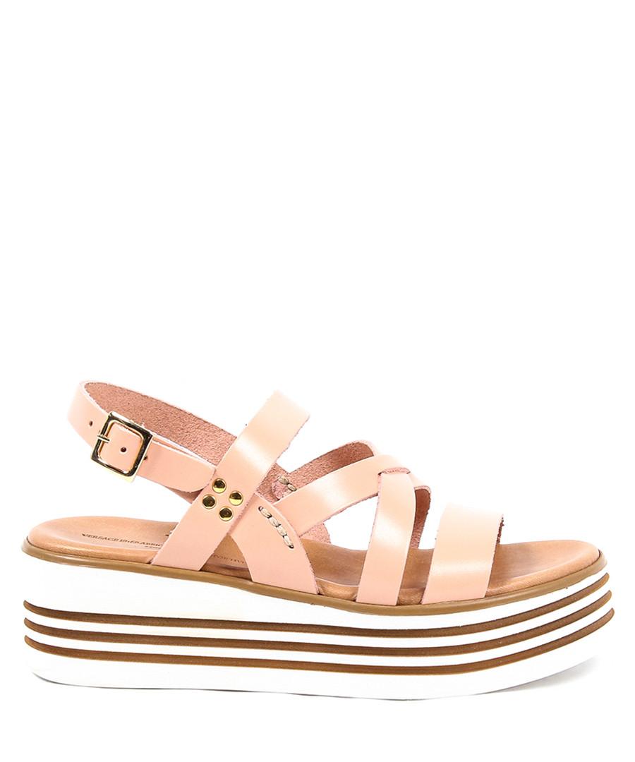 Women's Pink leather wedge strappy sandals Sale - v italia by versace 1969 abbigliamento sportivo srl milano italia