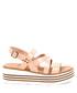 Women's Pink leather wedge strappy sandals Sale - v italia by versace 1969 abbigliamento sportivo srl milano italia Sale