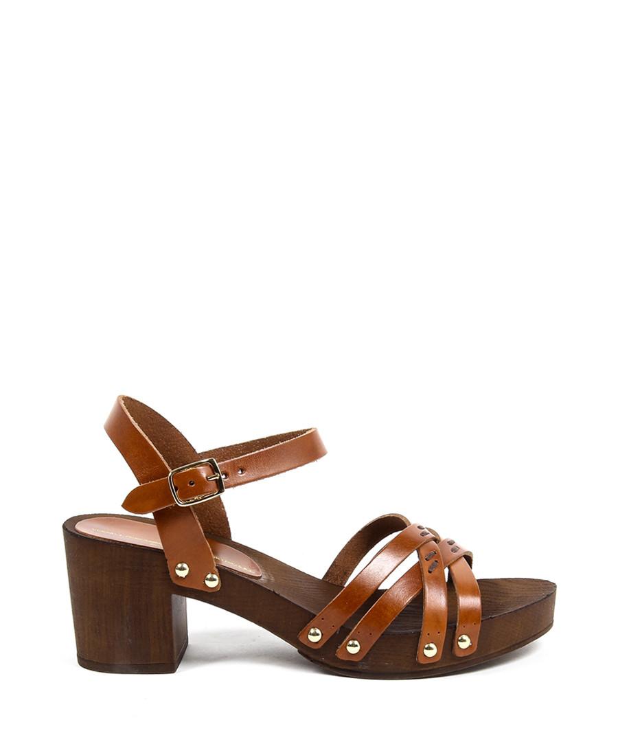 Brown leather heeled sandals Sale - v italia by versace 1969 abbigliamento sportivo srl milano italia