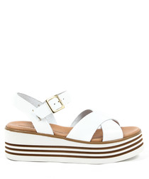 Women's White leather strappy wedge sandals