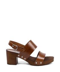 Women's Brown leather block heel sandals