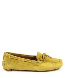 Mustard suede moccasins