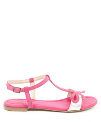 Pink & white leather sandals