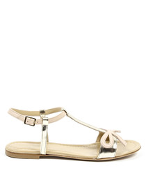 Beige leather bow sandals
