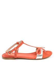 Orange leather bow sandals