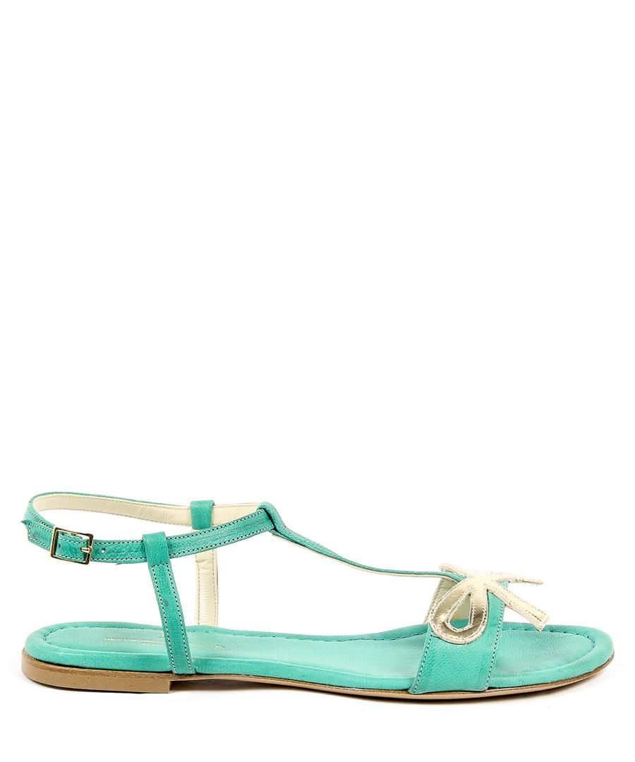 Green leather bow sandals Sale - v italia by versace 1969 abbigliamento sportivo srl milano italia