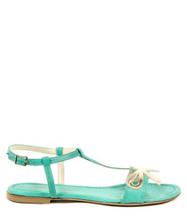 Green leather bow sandals