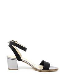 Black & grey leather heeled sandals