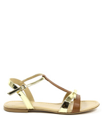 Gold & brown leather sandals