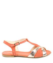 Orange & white leather sandals