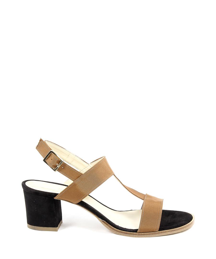Women's Tan leather heeled sandals Sale - v italia by versace 1969 abbigliamento sportivo srl milano italia