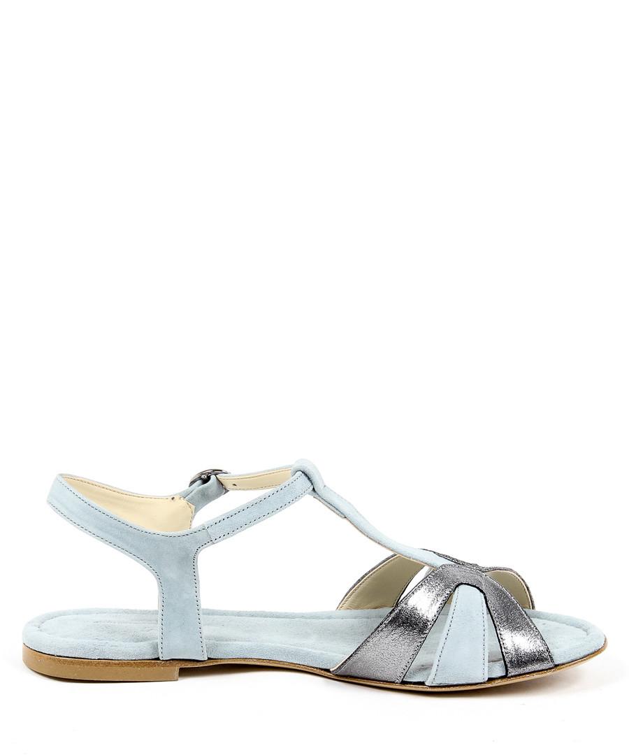 Light blue & silver suede sandals Sale - v italia by versace 1969 abbigliamento sportivo srl milano italia