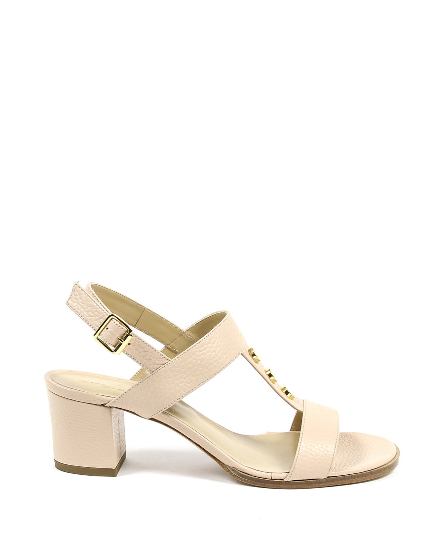Cream leather stud heeled sandals Sale - versace 1969 abbigliamento sportivo
