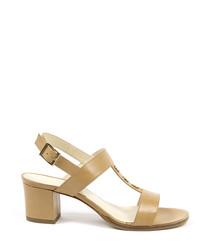 Light tan leather stud heeled sandals