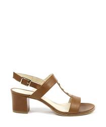 Tan leather stud detail heeled sandals