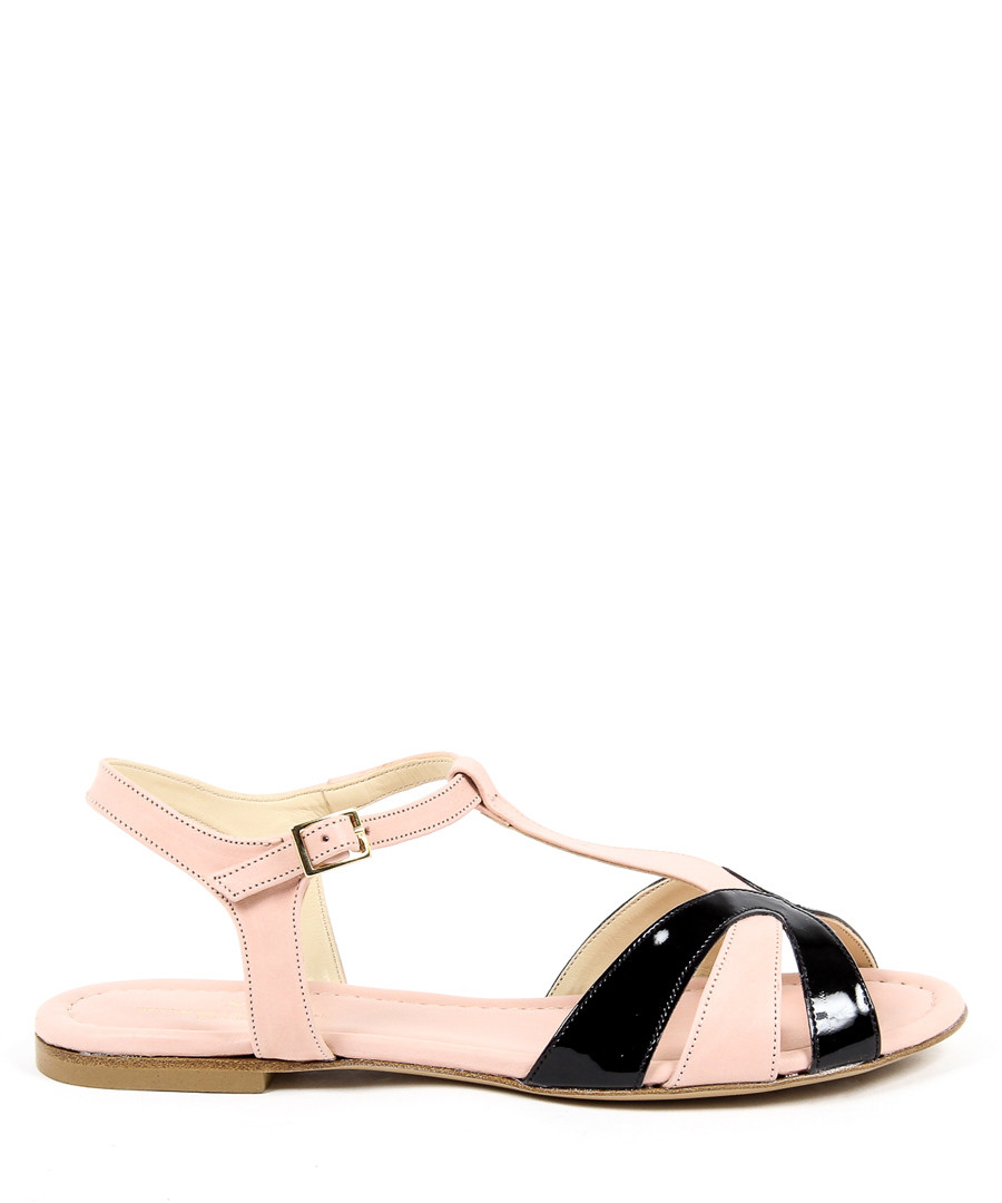 Light pink & black leather sandals Sale - v italia by versace 1969 abbigliamento sportivo srl milano italia