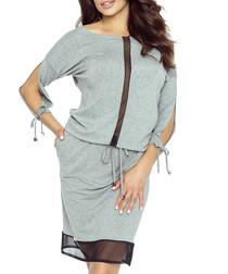 Grey cut-out sleeve knee-length dress