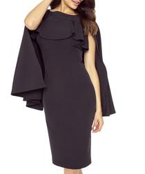 Black cape sleeve ruffle neck dress