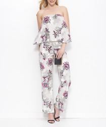 Beige floral print bandeau jumpsuit