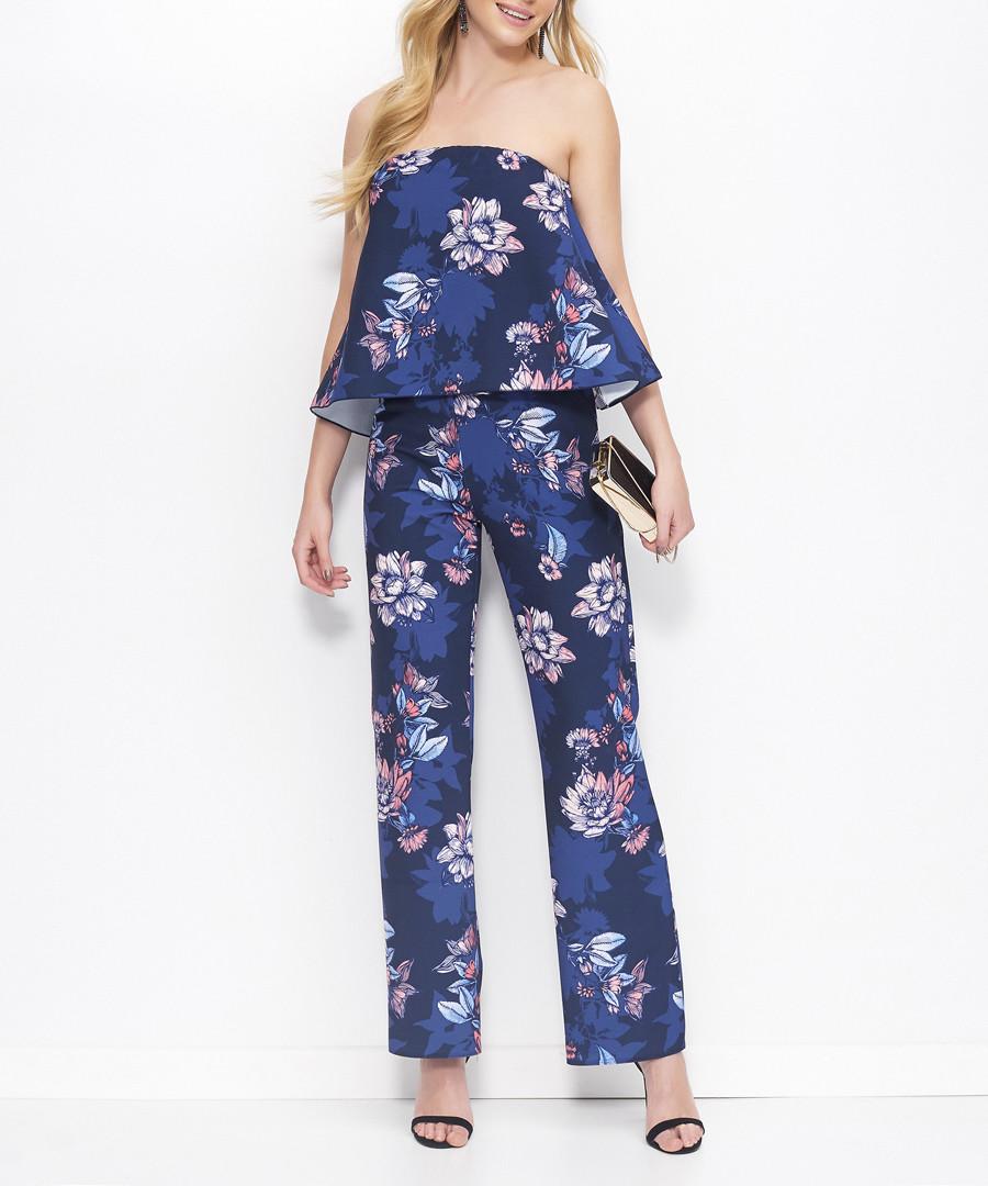 Blue floral print bandeau jumpsuit Sale - makadamia