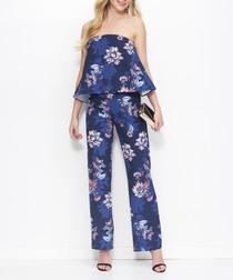Blue floral print bandeau jumpsuit