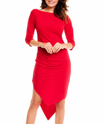 Red double-point hem knee-length dress