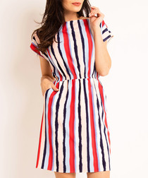Multi-colour stripe gathered mini dress