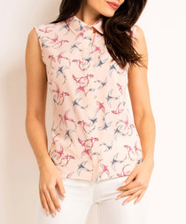 Pink bird print sleeveless shirt