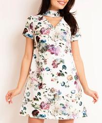 Ecru floral print cut out mini dress
