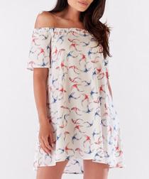 Ecru bird print off-the-shoulder dress