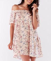 Pink bird print off-the-shoulder dress