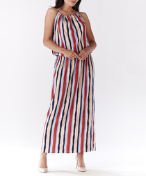 Multi-coloured stripe sleeveless dress