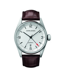 Delta Automatic brown leather watch