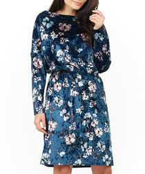 Navy floral print long sleeve dress
