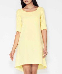 Yellow hi-lo scoop neck dress