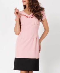 Pink & black cowl two-tone dress