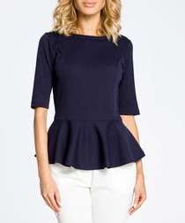 Navy blue cotton blend peplum top