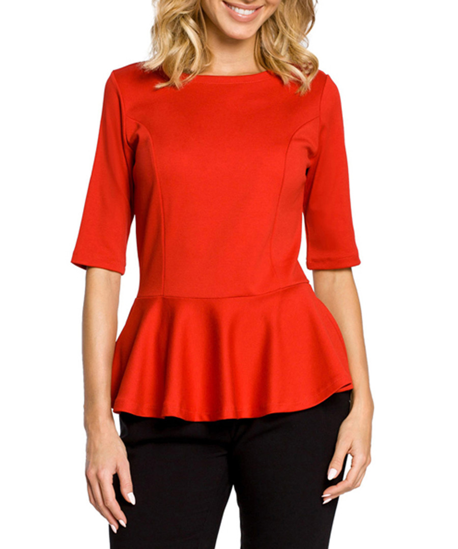 Bright red cotton blend peplum top  Sale - made of emotion