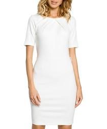 Ecru cotton blend short sleeve dress