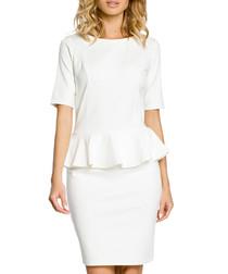 Ecru cotton blend peplum waist dress