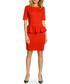 Red cotton blend peplum waist dress Sale - made of emotion Sale