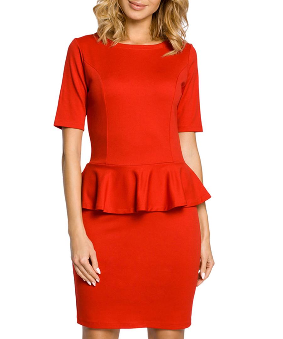 Red cotton blend peplum waist dress Sale - made of emotion