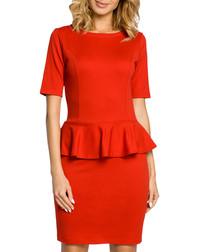 Red cotton blend peplum waist dress