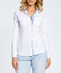 White long sleeve button-up shirt