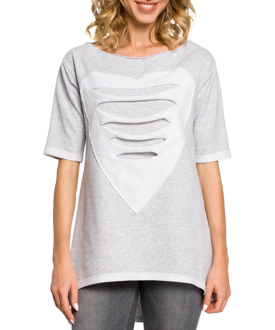 Grey cotton heart ripped top Sale - made of emotion